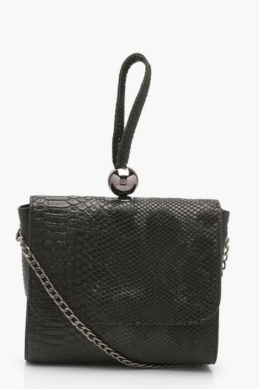 Womens Black Mini Snake & Bead Detail Bag