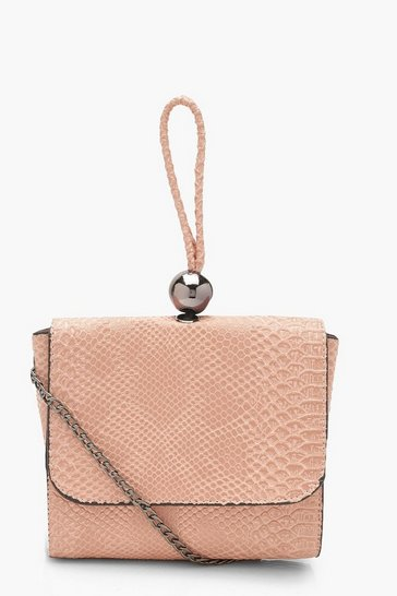 Womens Blush Mini Snake & Bead Detail Bag