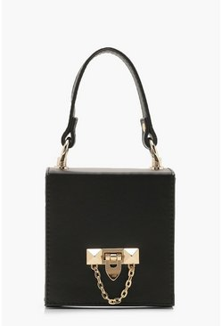 Womens Black PU Lock Detail Boxy Grab Bag