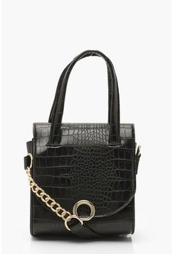 Dam Black Mini Croc & Ring Chain Cross Body Bag