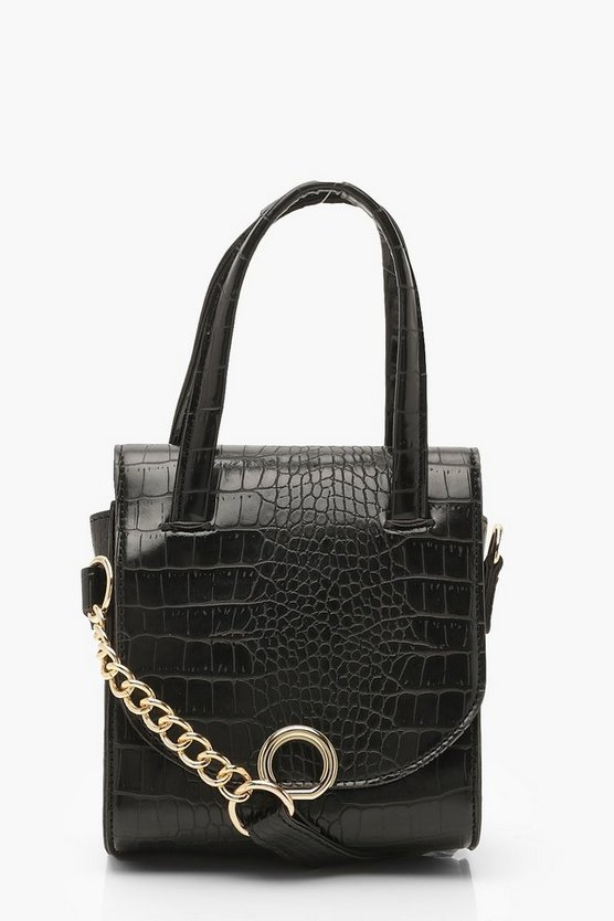 Mini Croc & Ring Chain Cross Body Bag Mini Croc & Ring Chain Cross Body Bag by Boohoo