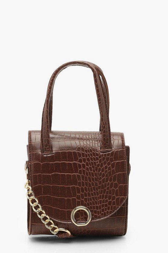 Mini Croc & Ring Chain Cross Body Bag