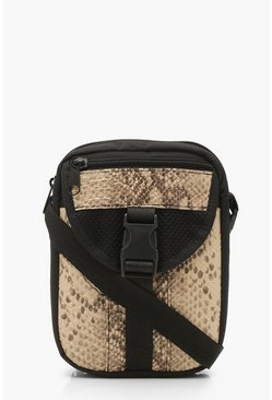 Womens Black Snake Utility Cross Body Bag