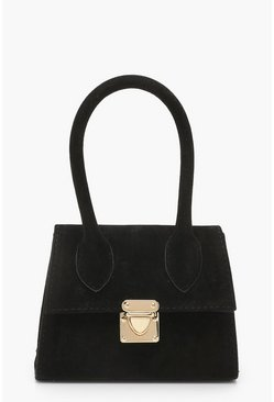 Womens Black Suedette Mini Structured Handle Grab Bag