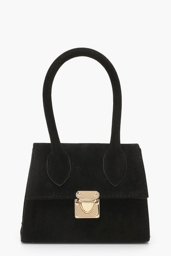 Suedette Mini Structured Handle Grab Bag by Boohoo
