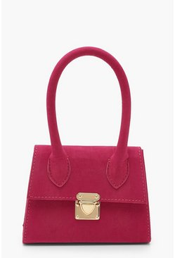 Womens Hot pink Suedette Mini Structured Handle Grab Bag