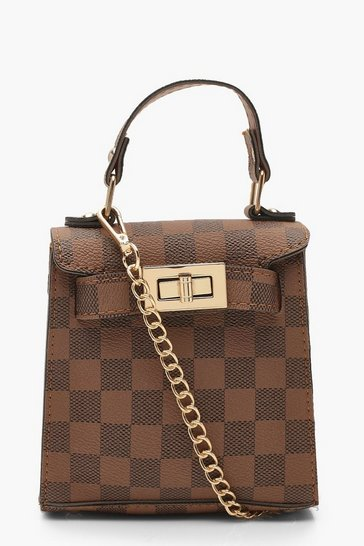Womens Brown Check Mini Grab Bag & Chain