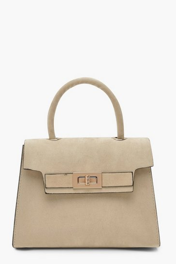 Womens Taupe Suedette Small Tote Bag
