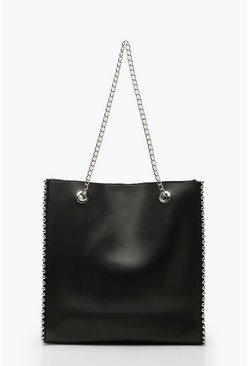 Womens Black Premium PU & Metal Bead Detail Tote Bag