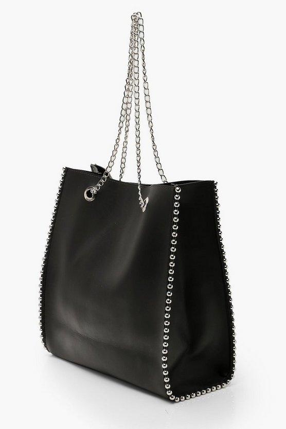 Premium PU & Metal Bead Detail Tote Bag