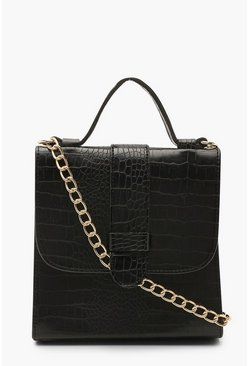 Womens Black Croc Tab Small Tote Bag