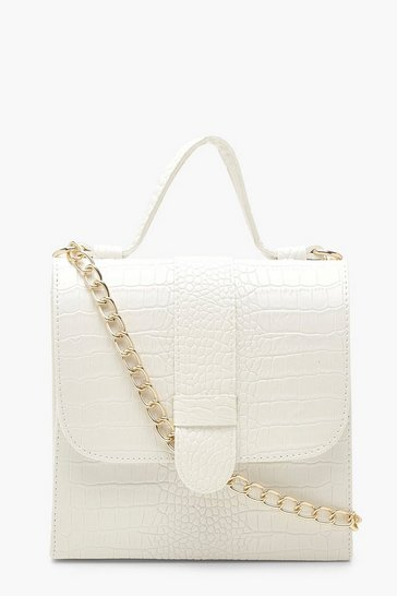Womens White Croc Tab Small Tote Bag