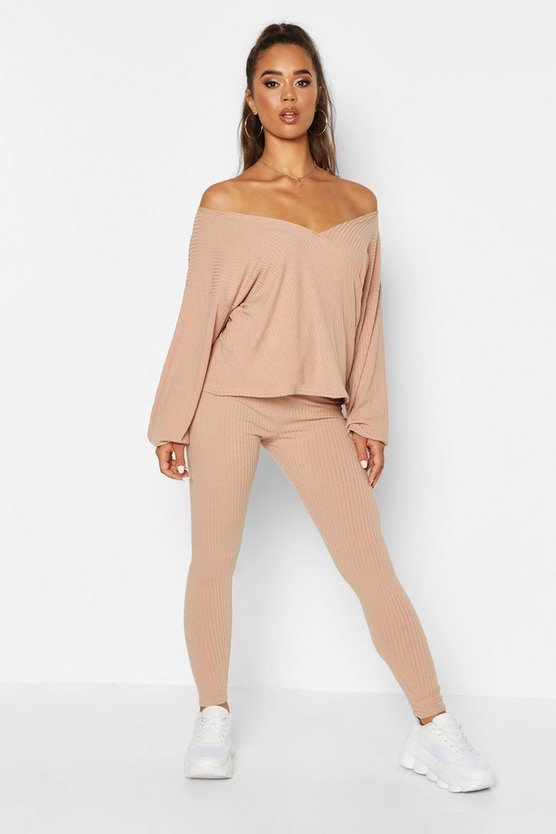 Stone Off The Shoulder Wrap Rib Top and Legging