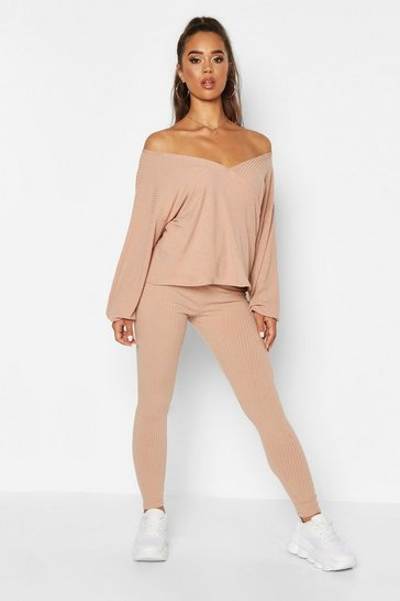 Womens Stone Off The Shoulder Wrap Rib Top and Legging