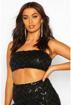 Black Sequin Check Bralet