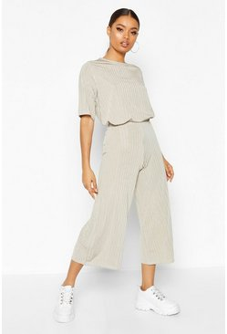 Sage Slinkly Rib T Shirt and Culotte Co Ord Set