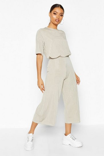 Sage Slinkly Rib T Shirt and Culotte Co Ord