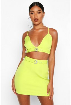 Womens Lime Diamonte Buckle Mini Skirt