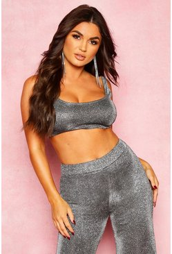Womens Dark grey Metallic Structured Bralet