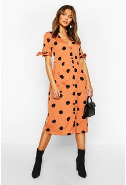Apricot Large Polka Dot Button Midi Smock Dress