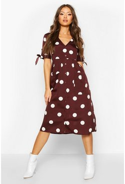 Chocolate Large Polka Dot Button Midi Smock Dress