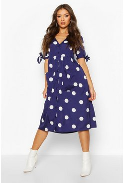 Navy Large Polka Dot Button Midi Smock Dress