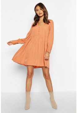 Womens Apricot Woven Button Detail Smock Dress