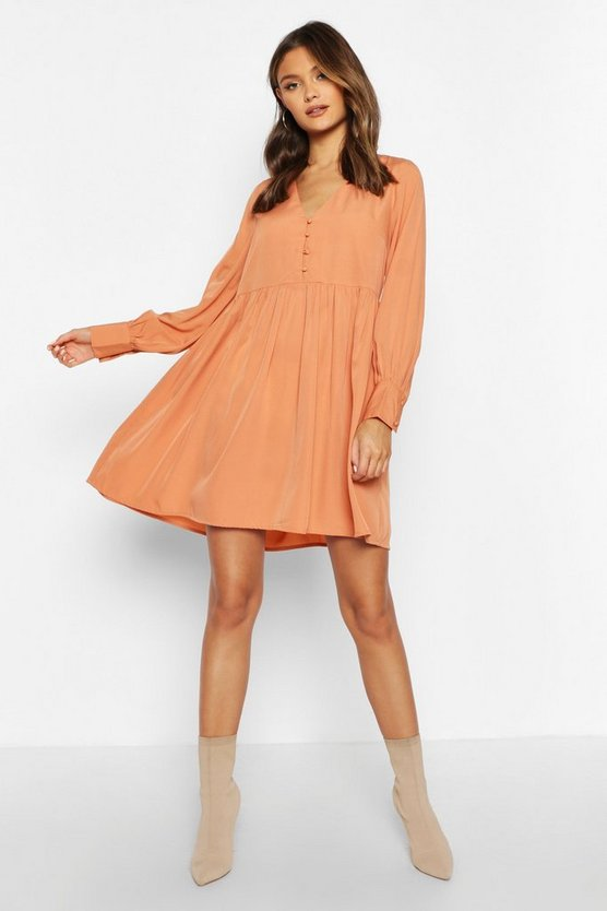 woven-button-detail-smock-dress by boohoo