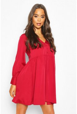 Womens Cranberry Woven Button Detail Smock Dress