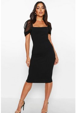 Black Square Neck Mesh Sleeve Midi Dress