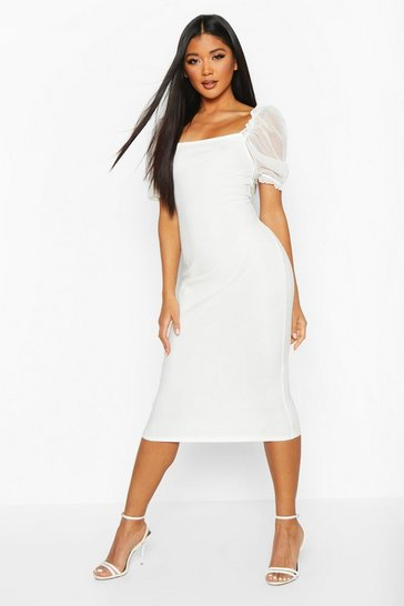 Womens Ivory Square Neck Mesh Sleeve Midi Dress