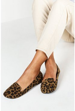 Womens Leopard Slipper Ballets