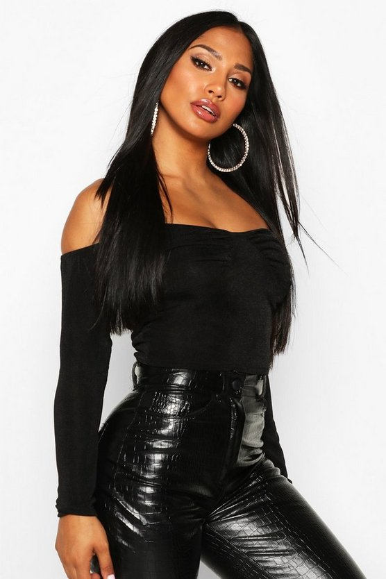 Black Ruched Bust Bardot Top