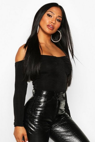 Womens Black Ruched Bust Bardot Top