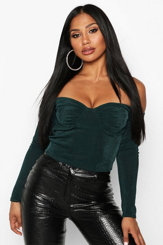 Womens Bottle green Ruched Bust Bardot Top
