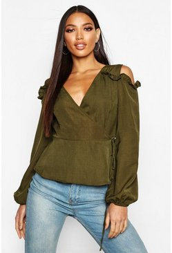 Womens Khaki Ruffle Cold Shoulder Wrap Blouse