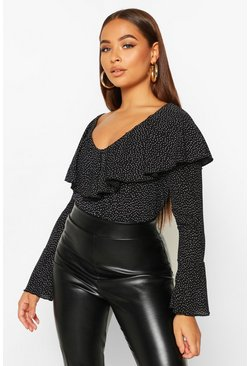 Dam Black Polka Dot Ruffle Flared Cuff Bodysuit
