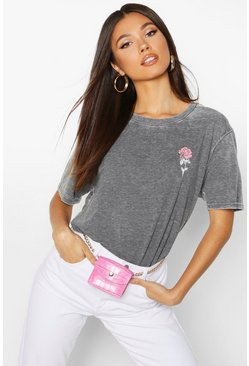 Charcoal Acid Wash Pocket Rose Print T-Shirt