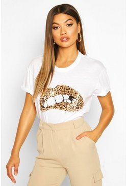 Womens White Sequin Lip Print T-Shirt