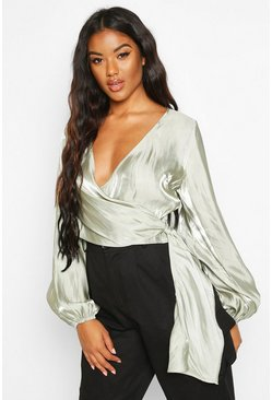 Womens Sage Metallic Satin Balloon Sleeve Wrap Blouse