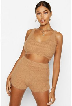 Toffee Fluffy Knit Shorts