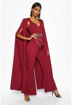 Burgundy Extreme Wide Leg Jumpsuit