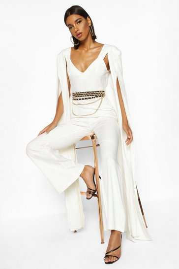 Womens Ivory Extreme Wide Leg Jumpsuit