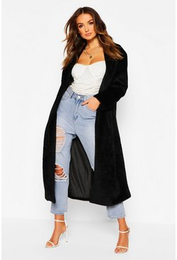 Black Premium Fluffy Faux Fur Maxi Coat