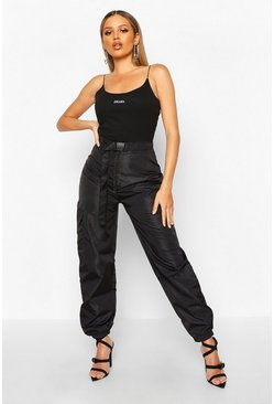 Womens Black Belted Pocket Detail Shell Jogger