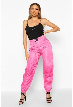 Womens Pink Belted Pocket Detail Shell Jogger