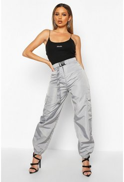 Womens Silver Belted Pocket Detail Shell Jogger