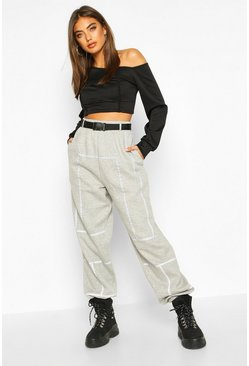 Womens Grey Oversized Reflective Tape Belted Jogger