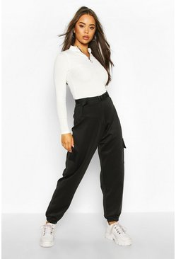 Womens Black Belted Utility Pocket Front Jogger