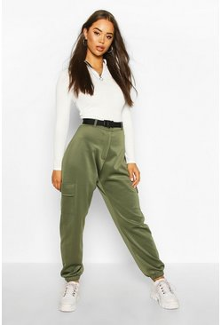 Womens Khaki Belted Utility Pocket Front Jogger